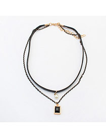 Trendy Gold Color Square Shape Decorated Double Layer Choker