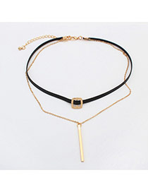 Fashion Gold Color Long Strip Pendent Decorated Buckle Double Layer Choker