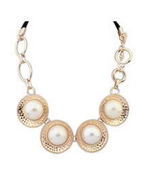 Elegant Gold Color Round Pearl Pendant Decorated Short Chain Necklace