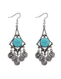 Cute Anti-silver Coins Shape Tassle Pendant Decorated Geometric Earring