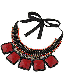 Vintage Red+black Square Shape Gemstone Decorated Simple Collar Necklace