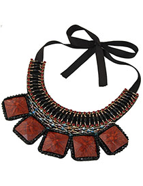 Vintage Black+orange Square Shape Gemstone Decorated Simple Collar Necklace