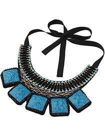 Vintage Black+blue Square Shape Gemstone Decorated Simple Collar Necklace