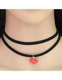 Trendy Red+gold Color Lip Pendant Decorated Double Layer Simple Choker