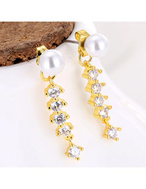 Sweet Gold Color Pearls&round Shape Diamond Decorated Vertical Shape Earrings
