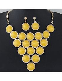 Elegant Yellow Pure Color Decorated Round Shape Design Jewelry Sets