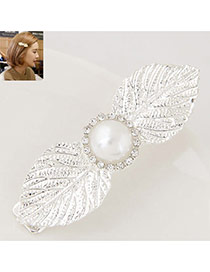 Elegant Silver Color Round Shape Decorated Leaf Design Simple Hair Cilp