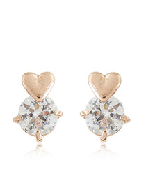 Sweet Rose Gold Heart Shape Decorated Round Diamond Earring