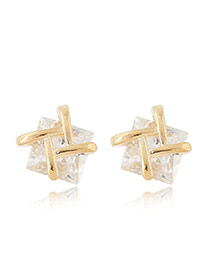 Sweet Gold Color Double T Shape Decorated Square Diamond Earring