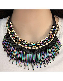 Elegant Multi-color Multilayer Square Gemstone Decorated Tassel Pendant Chocker
