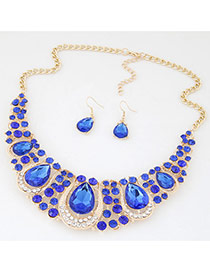 Luxury Sapphire Blue Waterdrop Diamond Decorated Hollow Out Jewelry Sets