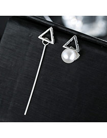 Sweet Silver Color Vertical Bar&pearl Decorated Asymmetric Earring