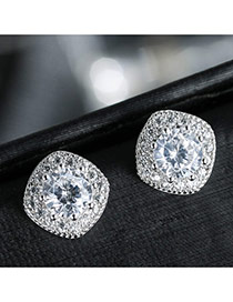 Sweet Silver Color Diamond Decorated Square Shape Earring