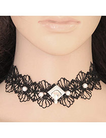 Elegant Black+white Pearl Decorated Hollow Out Lace Flower Chocker