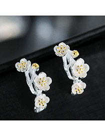 Sweet Gold Color+white Plum Blossom Decorated Color Matching Simple Earrings