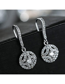 Sweet Silver Color Diamond Decorated Hollow Out Round Shape Design Simple Earrings