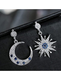 Sweet Silver Color+dark Blue Moon&sun Shape Pendant Decorated Color Matching Earrings