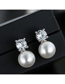 Sweet Silver Color+white Diamond&pearls Decorated Simple Earrings