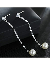 Sweet Silver Color+white Pealrs&diamond Decorated Tassel Design Earrings