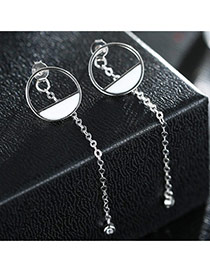 Sweet Silver Color+white Hollow Out Round Shape Decorated Tassel Design Earrings