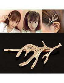 Elegant Gold Color Pure Color Decorated Antler Shape Design Hair Clip