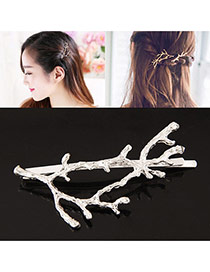 Elegant Silver Color Pure Color Decorated Branches Shape Design Hair Clip