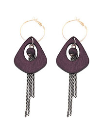 Elegant Purple Long Tassel&hollow Out Round Shape Decorated Simple Earrings