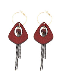 Elegant Red Long Tassel&hollow Out Round Shape Decorated Simple Earrings