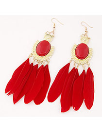 Fashion Red Feather Pendant Decorated Simple Earrings