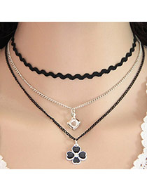 Elegant Black Flower&suqare Shape Diamond Pendant Decorated Multi-layer Choker