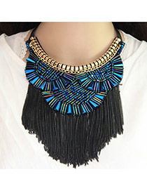 Fashion Blue Matal Tassel Decorated Short Chain Necklace