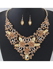 Fashion Champagne Flower Shape Decorated Pure Color Jewelry Sets