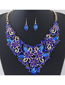 Fashion Blue Flower Shape Decorated Pure Color Jewelry Sets
