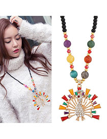 Fashion Multi-color Peacock Pendant Decorated Simple Sweater Necklace