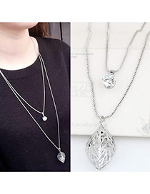 Elegant Silver Color Hollow Out Leaf Pendant Decorated Double Layer Necklace