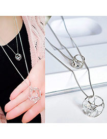 Elegant Silver Color Hollow Out Pendant Decorated Double Layer Necklace
