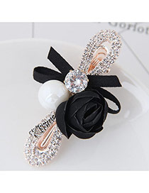 Cute Black Rose Flower&bowknot Shape Decorated Simple Clip