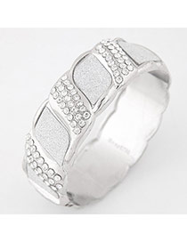 Elegant Silver Color Geometrical Grid Decorated Simple Bracelet