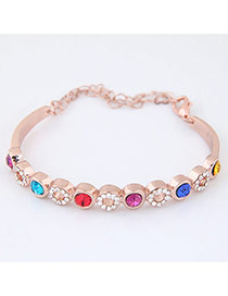 Elegant Multi-color Round Diamond Decorated Simple Bracelet