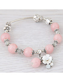 Sweet Pink Flower&pearl Shape Decorated Pure Color Bracelet