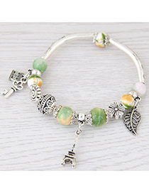 Sweet Green Eiffel Tower&hollow Out Leaf Pendant Decorated Simple Bracelet
