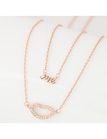 Sweet Rose Gold Letter&lip Pendant Decorated Double Layer Necklace