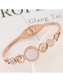Fashion White+blue Round Shape Diamond Decorated Hollow Out Color Matching Bracelet