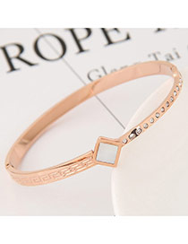 Fashion White+gold Color Sqaure Shape Diamond Decorated Color Matching Bracelet