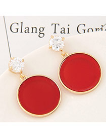 Sweet Red Round Shape Diamond Pendant Decorated Pure Color Earrings