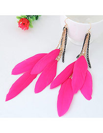 Sweet Plum Red Feather Pendant Decorated Tassel Earring