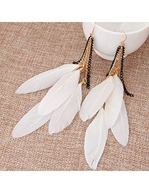 Sweet White Feather Pendant Decorated Tassel Earring