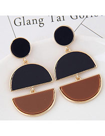 Exaggerated Black+coffee Double Moon Shape Pendant Decorated Color Matching Earring