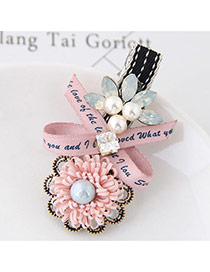 Sweet Pink Bowknot&flower Shape Decorated Simple Hairpin