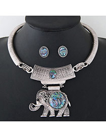 Vintage Silver Color Metal Elephant Pendant Decorated Simple Jewelry Sets